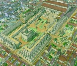 Le forum de Lutèce au IVe siècle, aquarelle de Jean-Claude Golvin, 2010