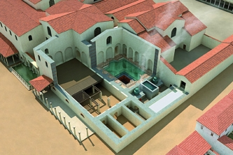 Thermes de Cluny, écorché montrant le système de chauffage du bassin